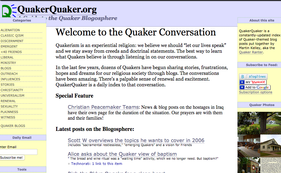 One of the first iterations of QuakerQuaker, from January 2006.